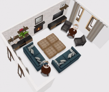 3d birdsview interior design