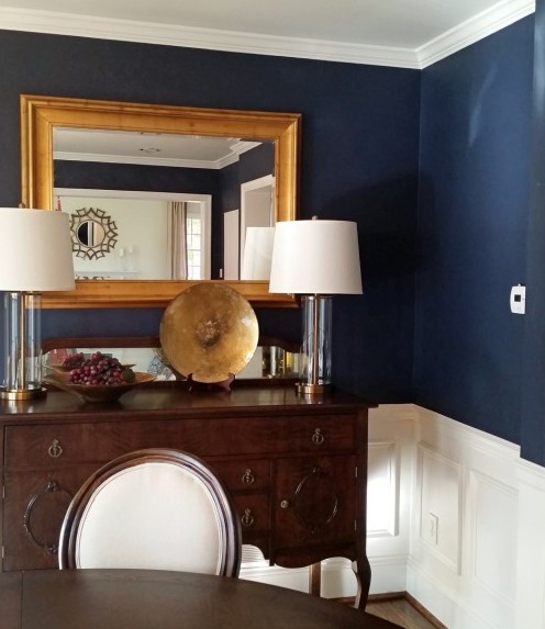 navy and gold dining room main line philadelphia