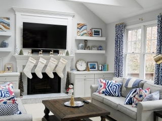 downingtown home remodel, window treatments, curtains, blue and white, custom pillows and drapery, custom build in, tv surround