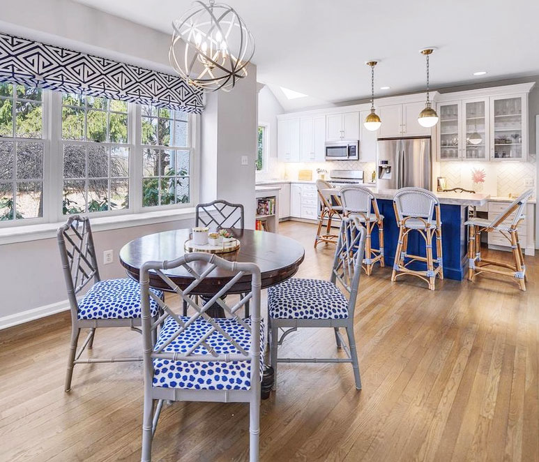 kitchen and breakfast area design, custom window treatments, hicks pendants, blue island, marble countertops,