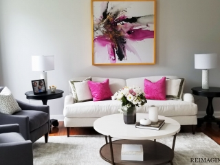 interior design project on the main line philadelphia color, texture, large art, gold accents