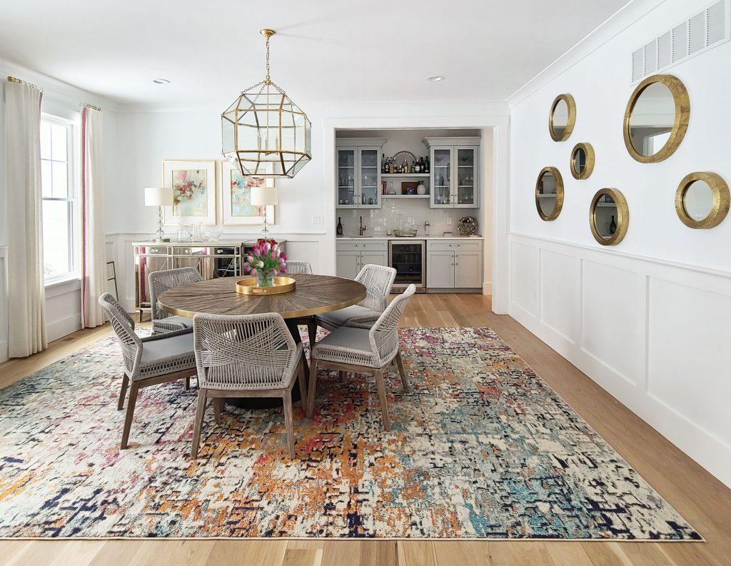 dining room design featuring custom window panels with animal print trim