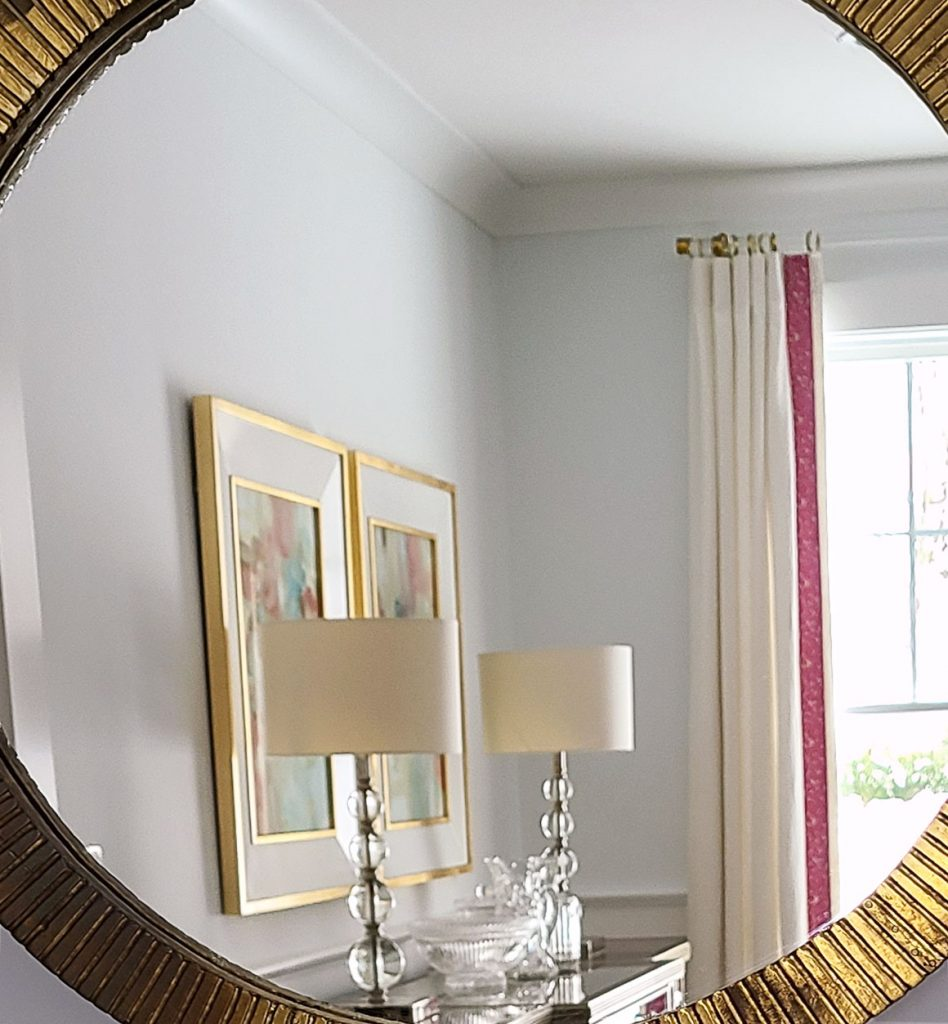 custom window treatments, drapery, art work, pink and gold