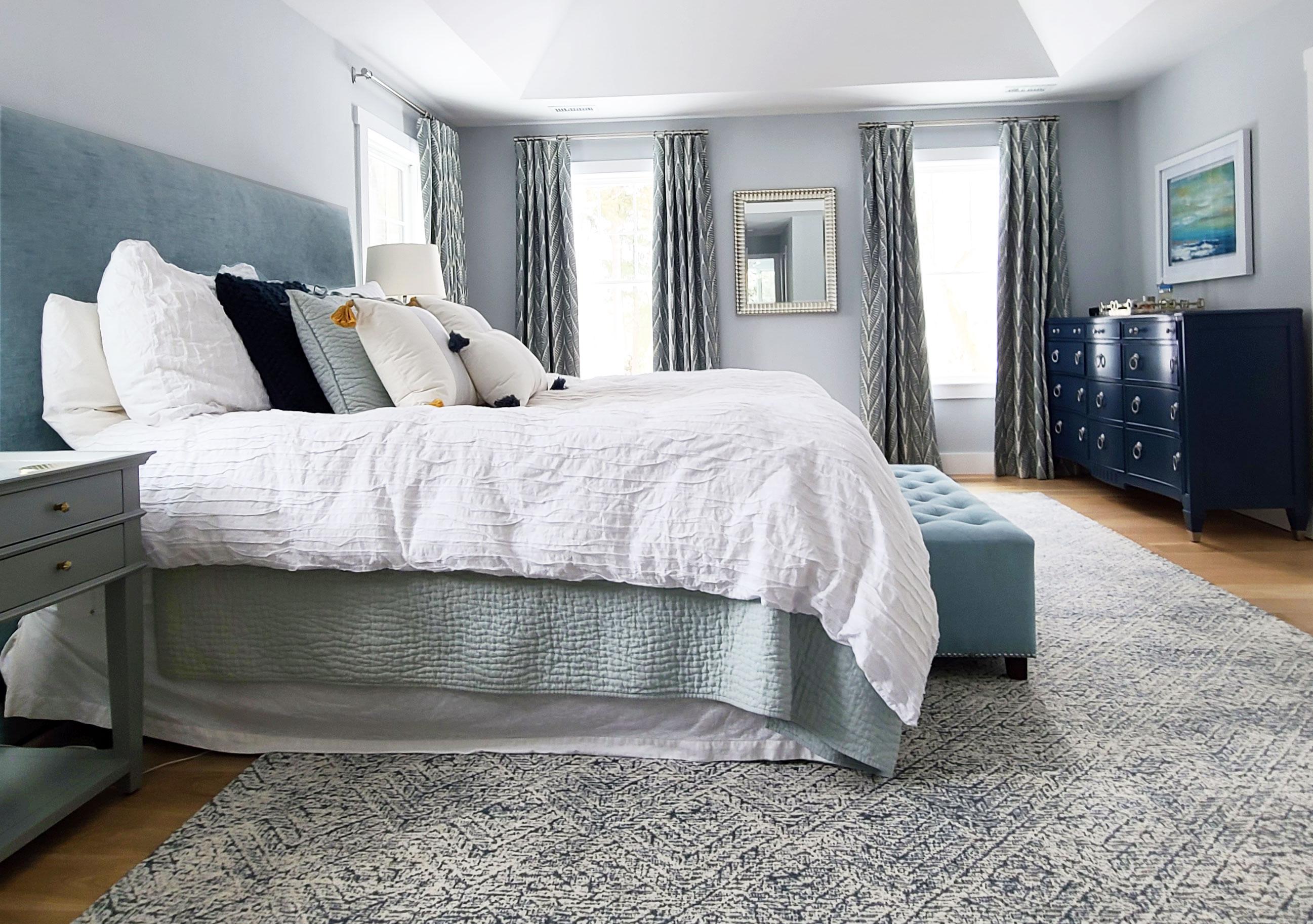 main line bedroom design, blues and greens, custom headboard, custom window treatments