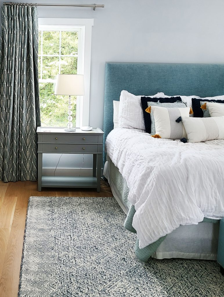 master bedroom design main line pa, custom window treatments, custom headboard